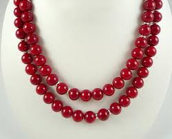 long red necklace images Long red necklace cherry red bead necklace red silver glass etsy jpg