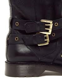 buckle biker boots asos accept leather biker boots in black lyst