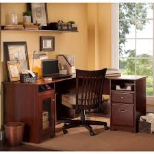 Shaped Desk Cabot 60 In L Shaped Desk Harvest Cherry Walmart