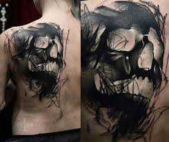 sketchy solid black skull back amazing ideas