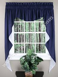 Blue Swag Curtains Emery Lined 3 Swag Midnight Renaissance Home Fashion