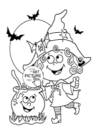 halloween little funny witch coloring page for kids printable