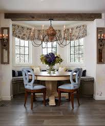 Window Treatments For Bay Windows In Dining Rooms Kitchen Bay Windows Dining Room Transitional With Round Table