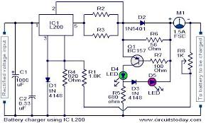 battery charger circuit using l200 electronic circuits and