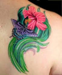 purple butterfly and hibiscus on right back shoulder