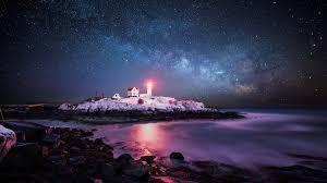 lighthouses lighthouse rocky point starry night usa atlantic