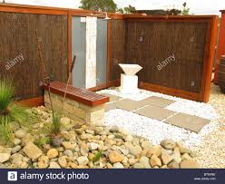 an outdoor shower set in asian style garden landscape stock photo