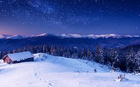 winter cabin on starry night full hd wallpaper and background