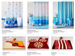 Polyester Shower Curtains Stripe Design Shower Curtain With Bathroom Door Mat And Ceramic