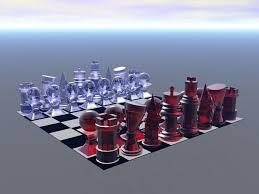 glass chess set 3d digital wallpaper background bandit