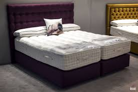 Minimalist Bed Double Size Bed With Bright Purple Tufted Headboard And Frame For