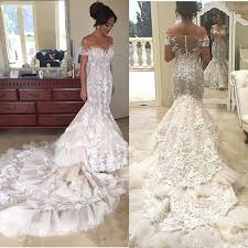 luxury mermaid wedding dresses 2017 luxury 3d floral appliques lace mermaid wedding dresses