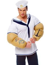 Halloween Muscle Shirt by Franco Sailor Shirt With Big Arms Popeye Mens Stag Party Halloween