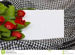 tulips with blank invitation card royalty free stock photo