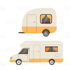 Retro Camper Retro Camper Trailer Collection Car Trailers Caravan Tourism Stock