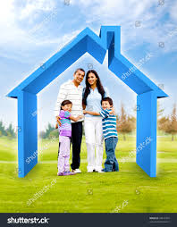 family buying house 3d illustration green stock photo 94277467