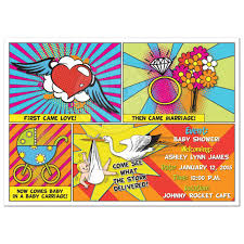 sip and shop invitation comic book comics pop art sip and see baby shower invitation