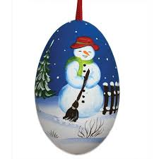 snowman painted signed turkey egg ornament