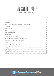 apa sample paper with table of contents rules