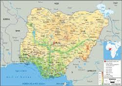 nigeria physical map nigeria physical wall map by graphiogre