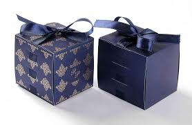 favor ribbons wedding party favor box in royal blue with the ribbons