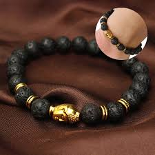 mens bracelet stones images Black lava rock stone golden buddha head men 39 s bracelet 7cm dia jpg