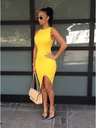 2015 women summer dress yellow sleeveless open fork bodycon