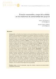 emoción expresada y carga del cuidador en los trastornos de