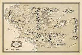 map of the lord of the rings middle earth map vintage style map lord of the rings poster