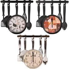 kitchen spoon wall clock cutlery fork spoon modern design sliver