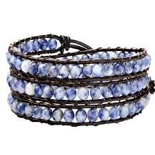 wrap bracelet with beads images Handmade blue stone beads wrap bracelet on brown leather 3x wraps jpg