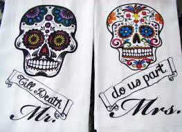 day of the dead wedding dia de los muertos tea towels day of the dead mr mrs till