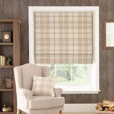 Roman Blinds Pics Highland Check Natural Blackout Roman Blind Dunelm