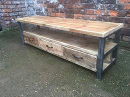 industrial chic reclaimed wood tv stand media unit with 3