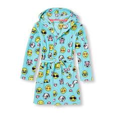 Emoji Robe | baby girls long sleeve emoji print hooded robe blue the