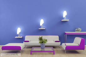 wall design of hall inside home with blue color home combo