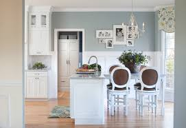 blue grey color kitchen traditional with brushed nickel hardware