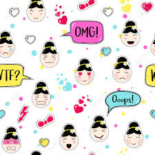 anime wrapping paper emoji seamless pattern in asian style with anime emoticons