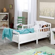White Wood Furniture Orbelle Upholstered Toddler Bed Gray French White Hayneedle