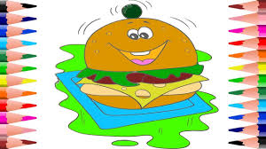 how to paint hamburger in food coloring pages coloring burger in