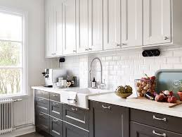 Gray Cabinets In Kitchen by Black And White Kitchen With White Top Cabinets And Black Bottom