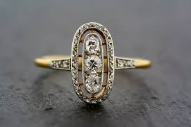 deco engagement ring gold and diamond deco engagement ring