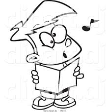 vector of cartoon choir boy singing coloring page outline by