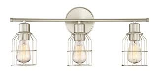 trade winds 3 light industrial wire bath bar in brushed nickel