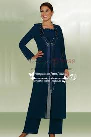 size classic dark navy chiffon mother of the birde pant suits with