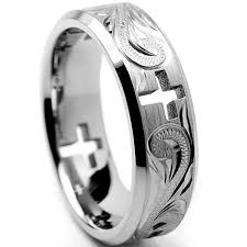 titanium mens wedding rings oliveti titanium men s cross cut out and engraved floral design