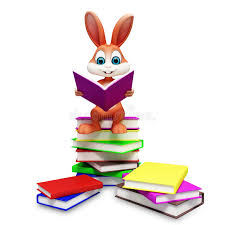 easter bunny book brown easter bunny with reading book stock illustration