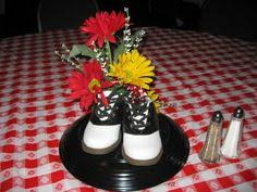 s centerpiece ideas  loved the centerpiece saddle shoes  with partyideas  event decorations sunday february   from pinterestcom