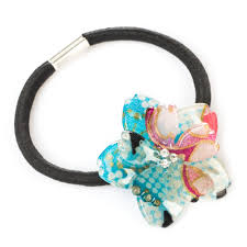 hair bobble blue cherry blossom japanese hair bobble