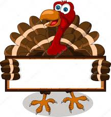 happy turkey with blank board stock vector